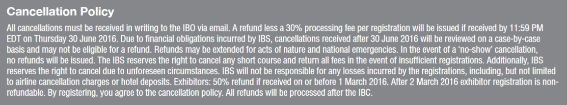 IBS Cancellation Policy